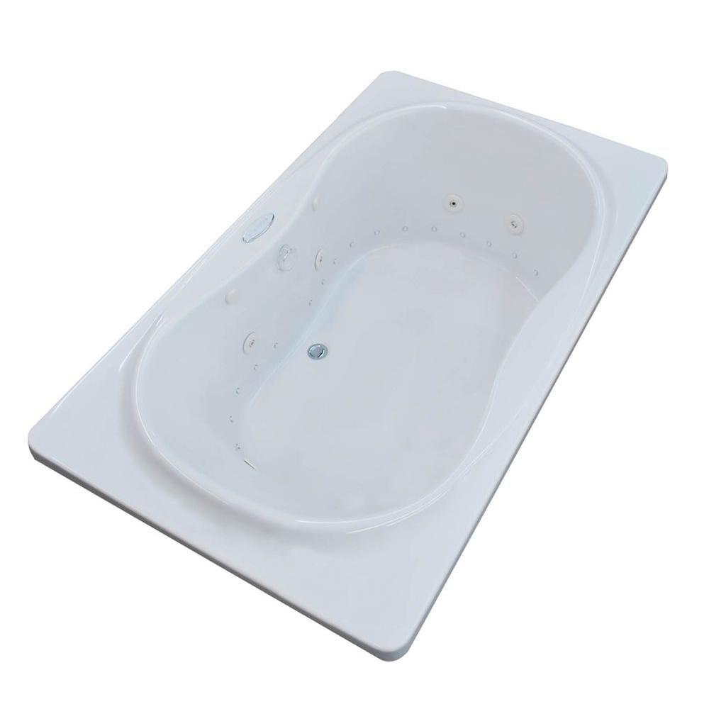 Star 6 Feet Acrylic Rectangular Drop-in Whirlpool Bathtub in White