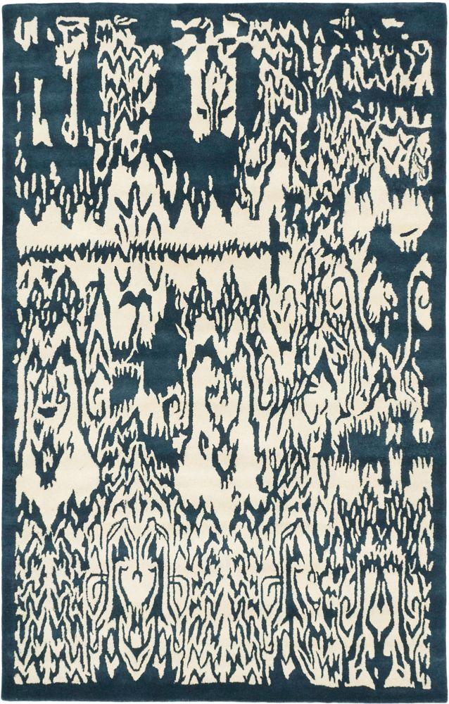 ECARPETGALLERY  Tapis turquoise crème avec de l art abstrait fait main