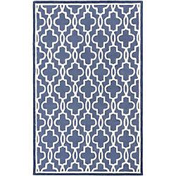 ECARPETGALLERY Handmade Trellis Blue 5 ft. x 8 ft. Rectangular Area Rug