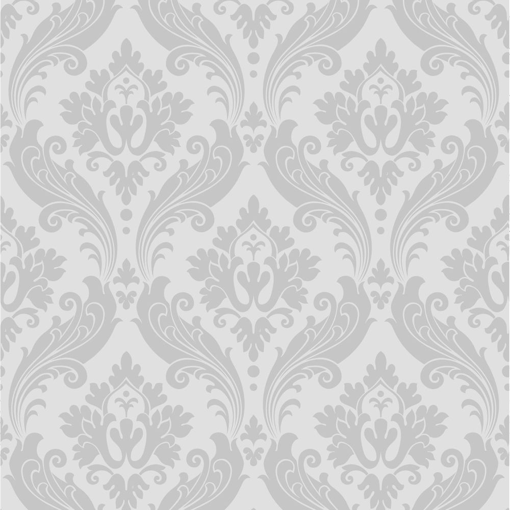 Superfresco easy vintage flock grey wallpaper the home for Wallpaper home depot canada