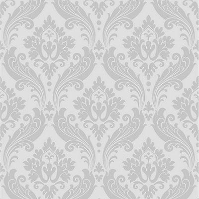 Vintage Flock Grey Wallpaper