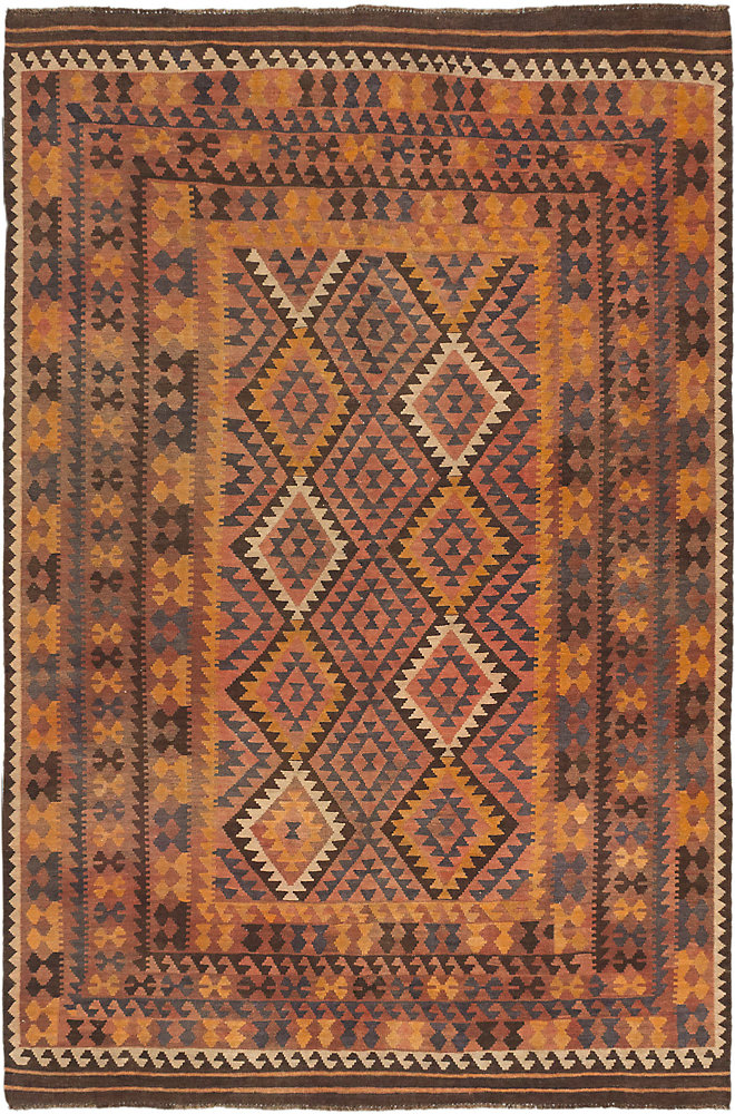 Carpette, 6 pi 3 po x 9 pi 6 po, tissée main, rectangulaire, rouge Sivas Kilim