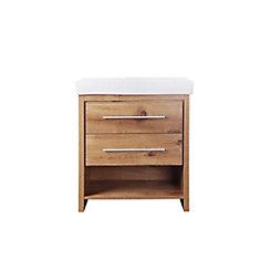 Greenbank 30-inch W 2-Drawer Freestanding Vanity in Gold With Ceramic Top in White