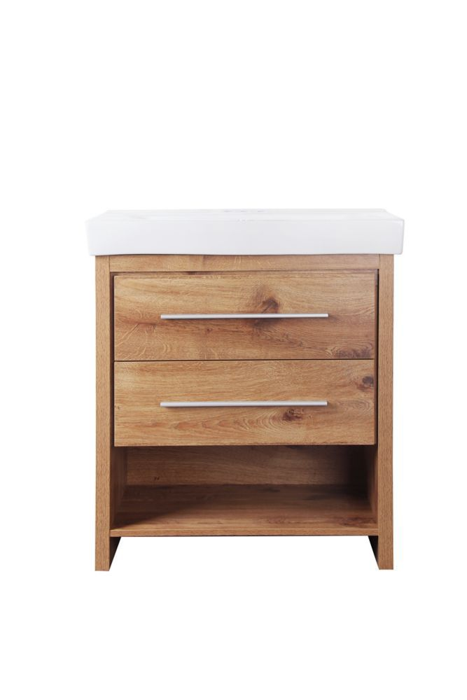 GLACIER BAY Greenbank 30-inch W 2-Drawer Freestanding Vanity in Gold With Ceramic Top in White