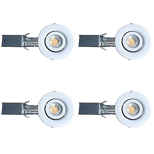 Ensemble de lampes encastrées à DEL, 3,25 po, 550 LM, paquet de 4, blanc