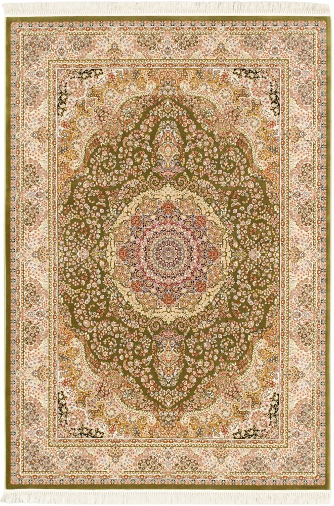 ECARPETGALLERY Hand Loomed King David Green 5 ft. 3-inch x 7 ft. 4-inch Indoor Traditional Rectangular Area Rug