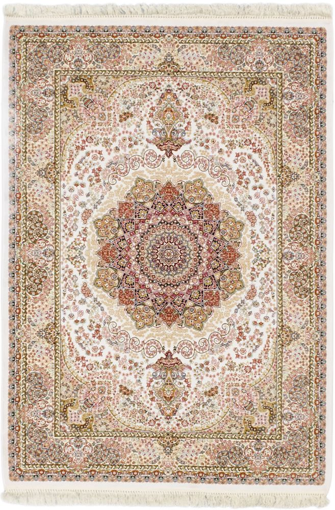 Hand loomed King David White Silk Rug - 3 Ft. 11 In. x 5 Ft. 7 In.