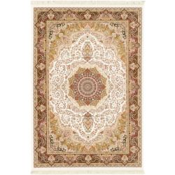 ECARPETGALLERY Hand Loomed King David Beige Tan 5 ft. 3-inch x 7 ft. 4-inch Indoor Traditional Rectangular Area Rug