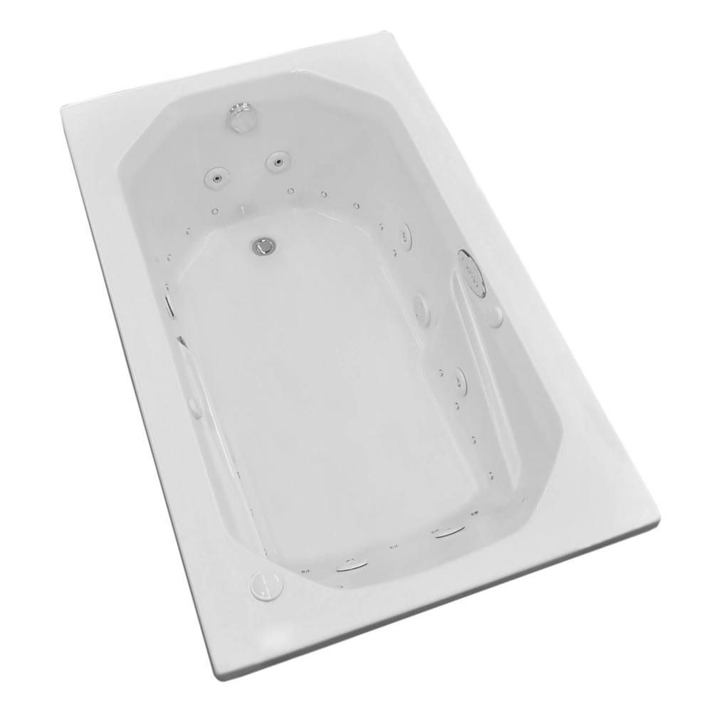 Onyx 5 Feet Acrylic Rectangular Drop-in Whirlpool Bathtub in White