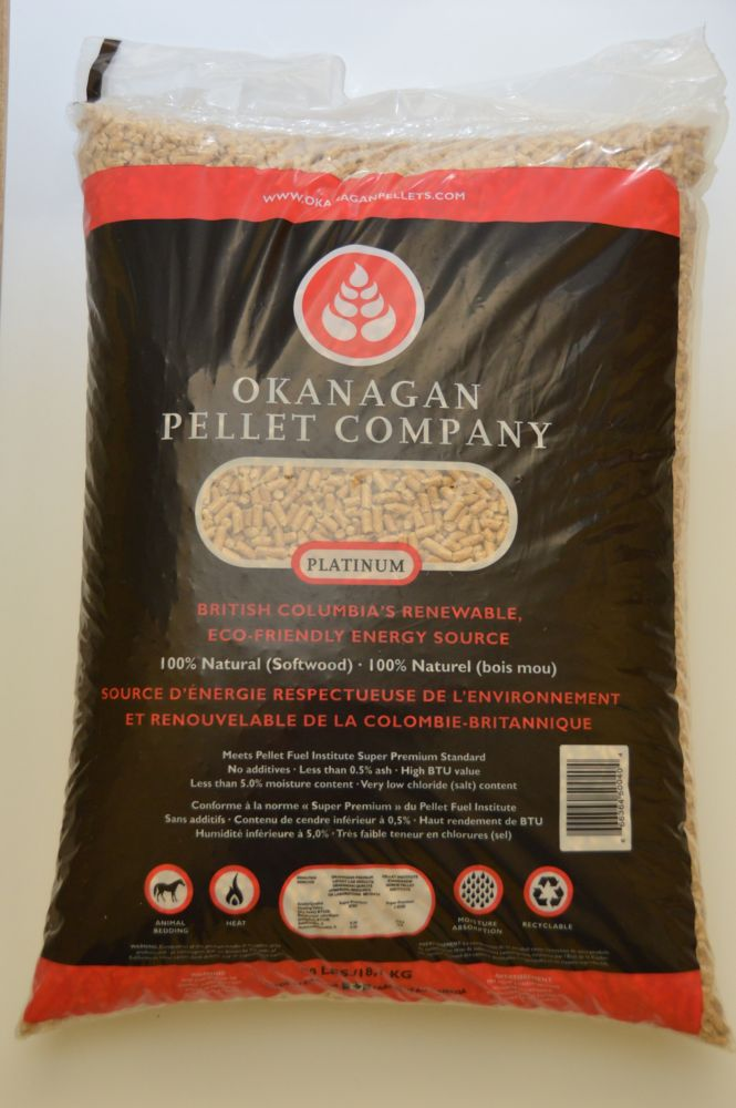 Okanagan Platinum Premium Wood Pellets Fuel 40lb bag