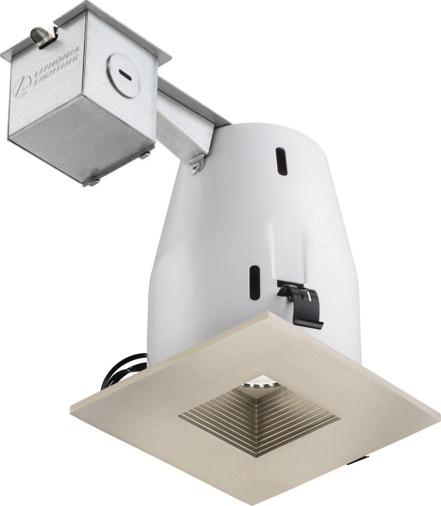 Luminaire encastré carré à DEL de 10cm (4po) � nickel brossé