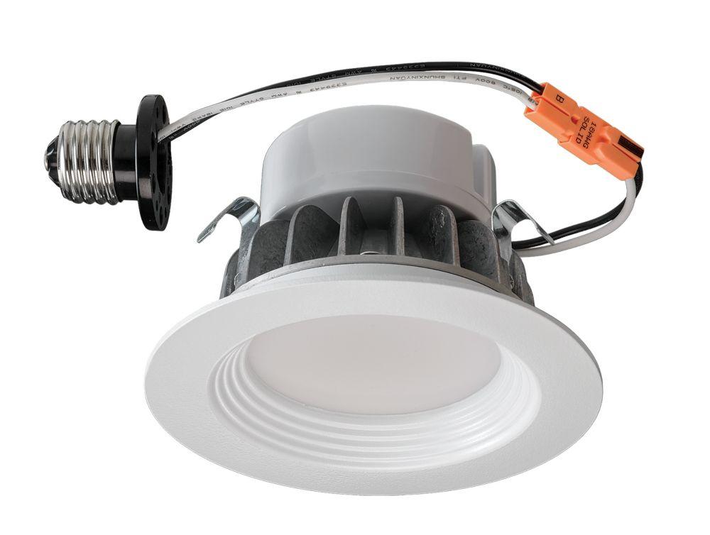 Luminaire encastré de modernisation à DEL en blanc mat � 4 po
