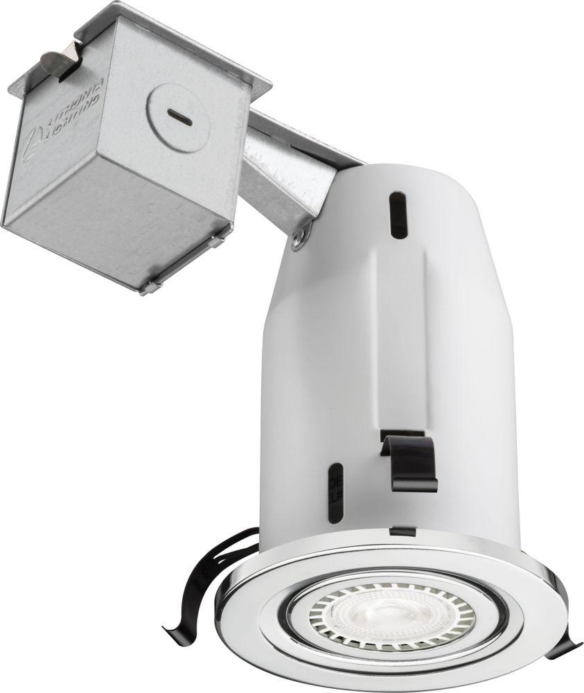Luminaire encastré à cardan et DEL de 7,6cm (3po) � chrome