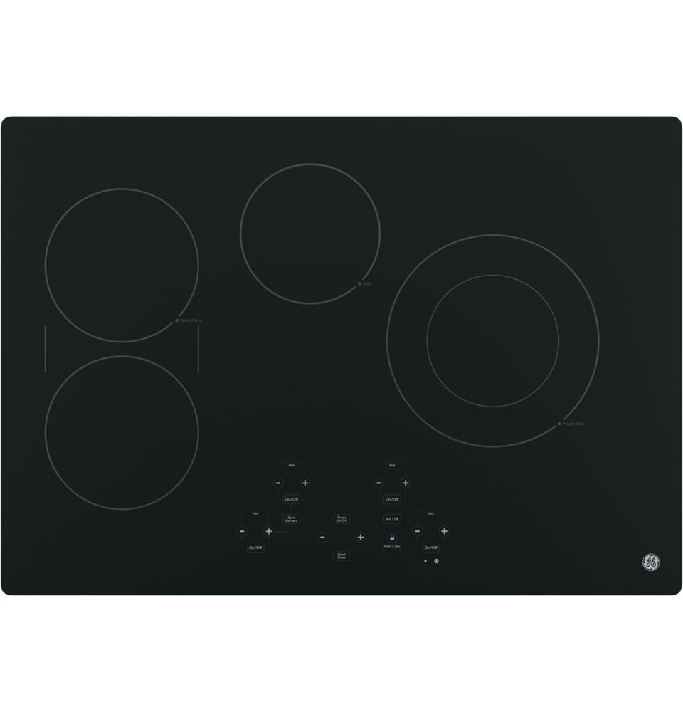 30- Inch  Electric Cooktop in Black