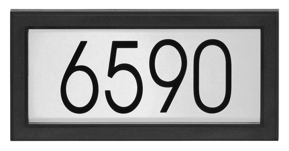 Plaque d'Adresse Rectagulaire Contemporaine, Noir/Acier Inoxydable