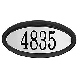 PRO-DF Oval Address Plaque, Black/Stainless Steel
