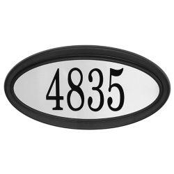 PRO-DF Plaque d'Adresse Oval Contemporaine, Noir/Acier Inoxydable