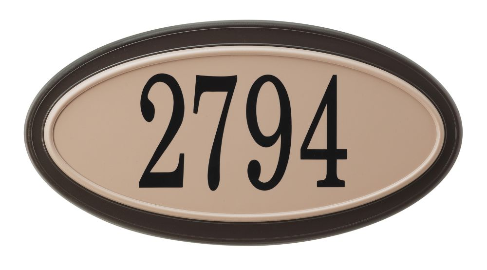 Oval Address Plaque, Mocha/Sand
