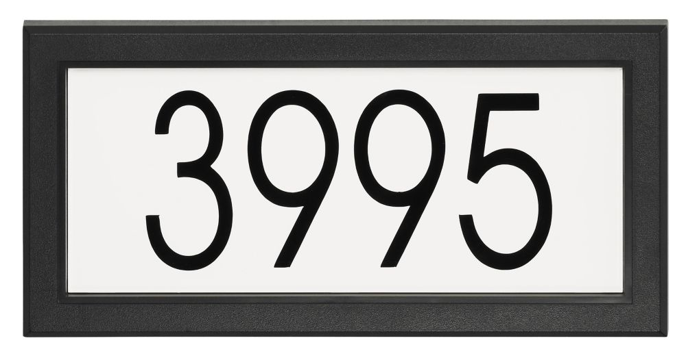 Rectangular Address Plaque, Black/White