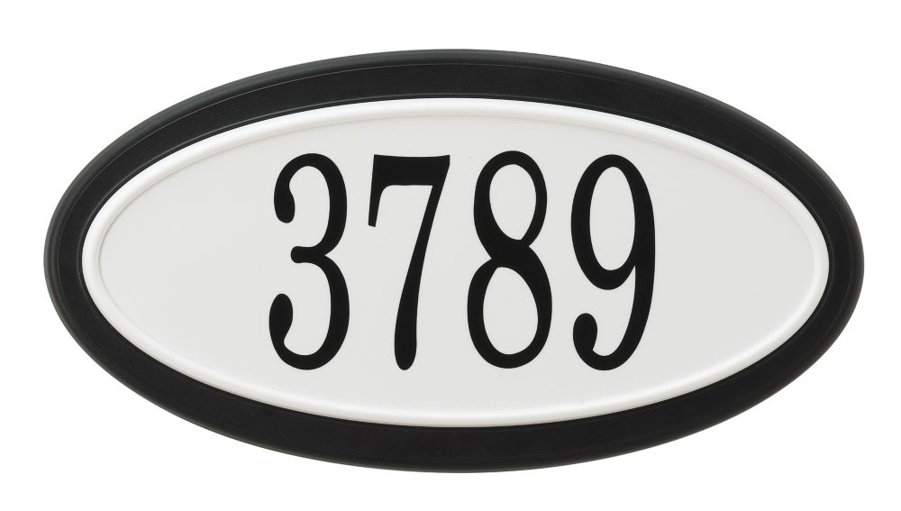Oval Address Plaque, Black/White
