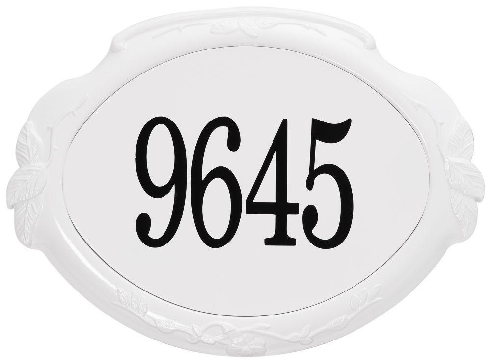 Floral Aluminum Address Plaque, White