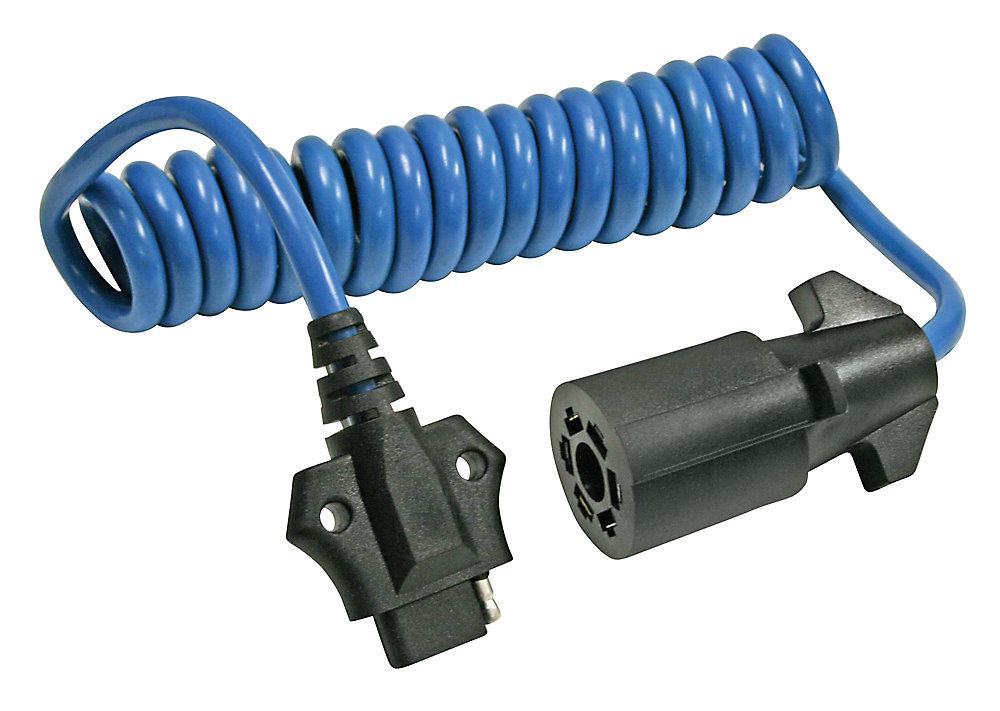Adaptateur de connecteur de 7 voies à connecteur plat à 4 voies avec câble spiralé REESE Towpower