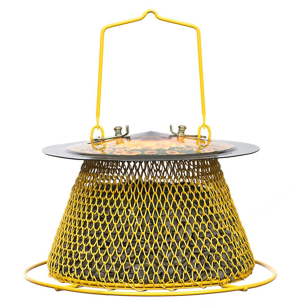 Mangeoire d'oiseaux à graines de tournesol - Silo unique et perchoir circulaire