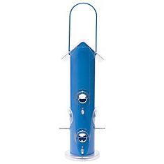 Blue Metal Tube Wild Bird Feeder