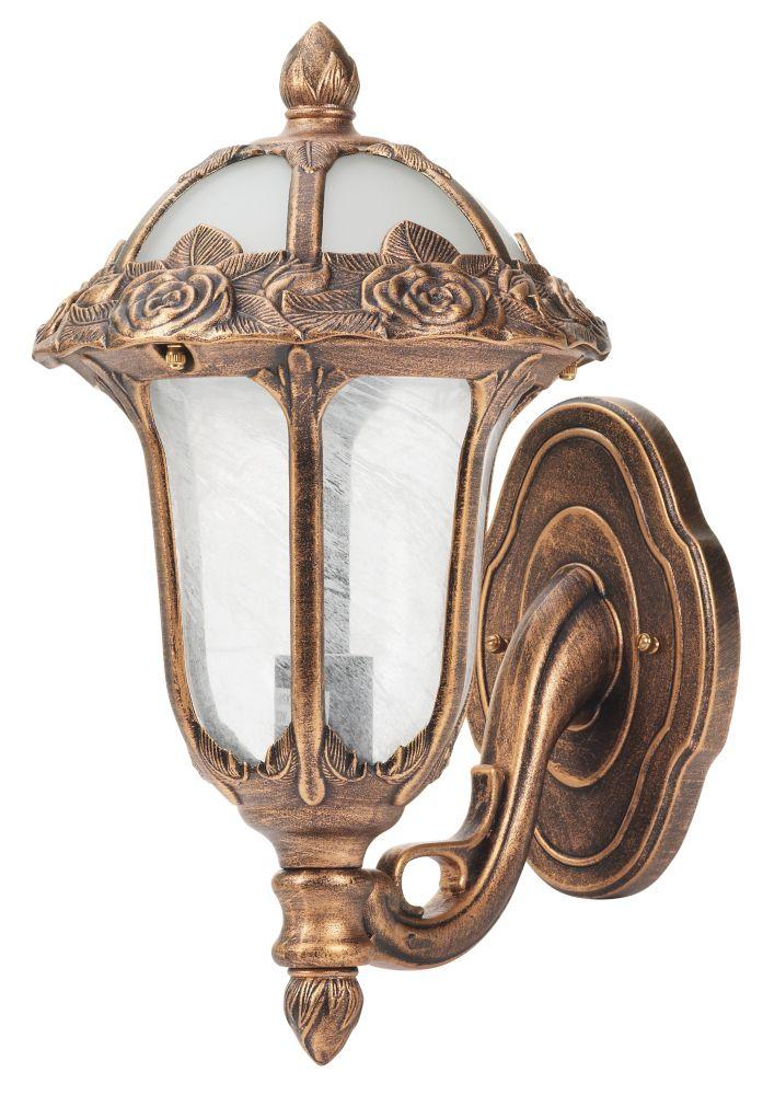 Lampe Murale à Montage par le Bas Rose Garden, Bronze Antique