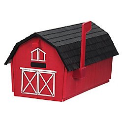 PRO-DF Barn Post Mount Mailbox, Red