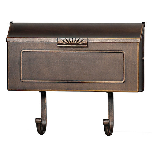 Classic Aluminum Wall Mount Mailbox, Antique Bronze