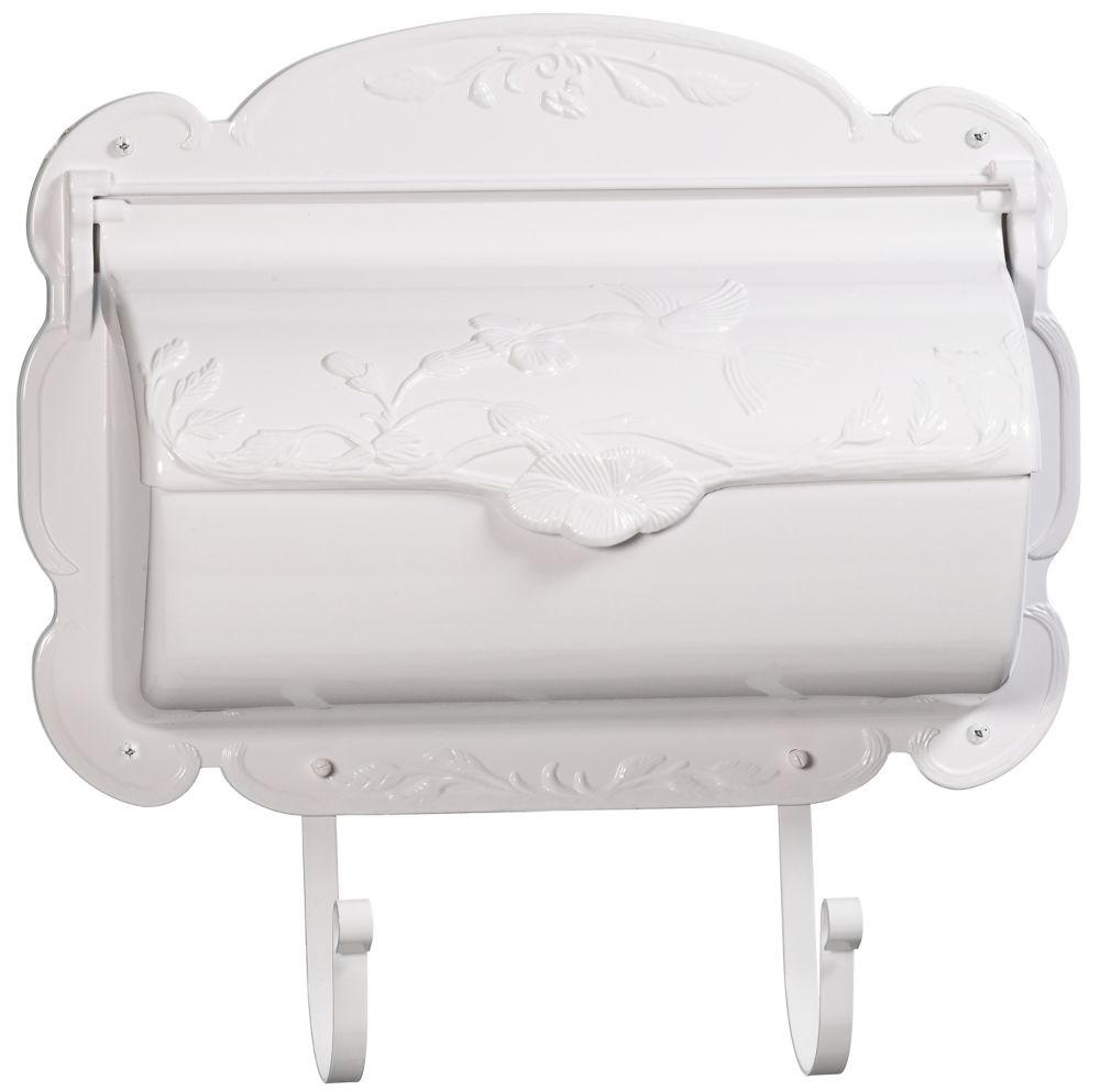 Hummingbird Aluminum Wall Mount Mailbox, White