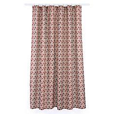 Metro Geometric Chevron Fabric Shower Curtain Liner Ring Set (14 pieces) Barnyard Red/Linen Beige