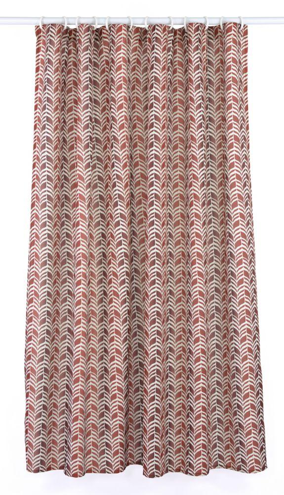 LJ Home Fashions Metro Geometric Chevron Fabric Shower Curtain Liner Ring Set (14-Piece) Barnyard Red/Linen Beige