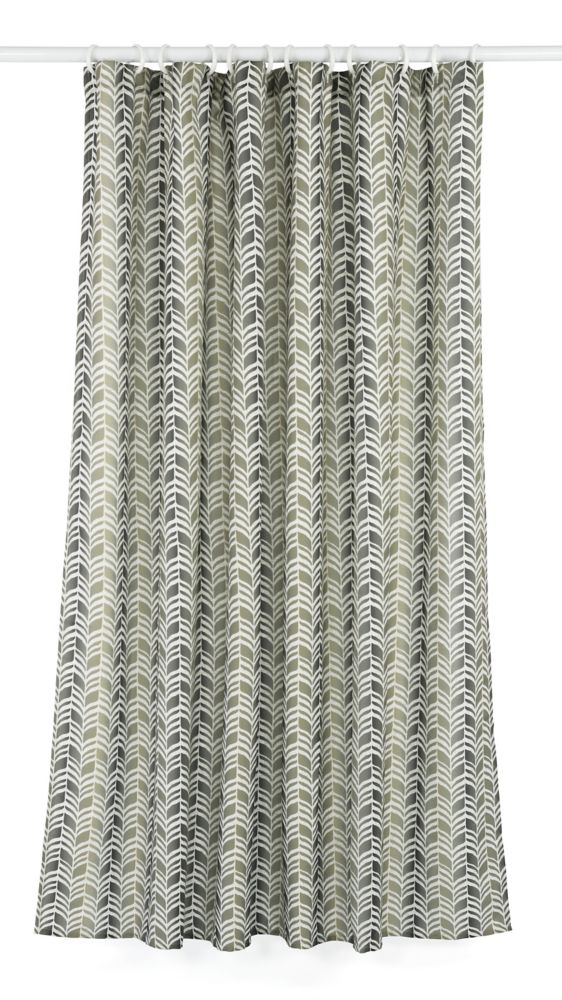 Metro Geometric Chevron Fabric Shower Curtain Liner Ring Set 14 Pieces Green Grey Linen Beige Photo Of Product