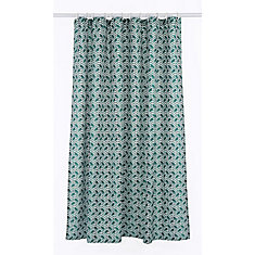 Metro Geometric Chevron Fabric Shower Curtain Liner Ring Set (14 pieces) Green/Linen Beige