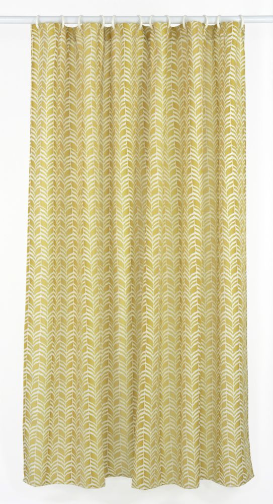LJ Home Fashions Metro Geometric Chevron Fabric Shower Curtain Liner Ring Set (14-Piece) Golden Yellow/Linen Beige