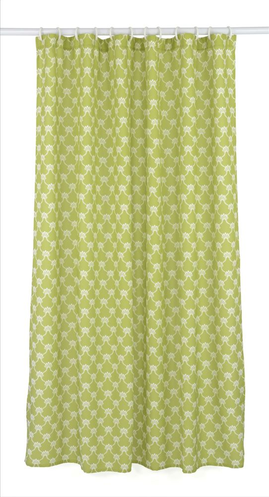 Manhattan 14-Piece Shower Curtain, Chartreuse/White