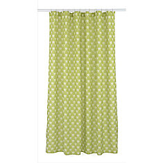 Manhattan Geometric Fabric Shower Curtain Liner Ring Set (14 pieces) Olive Green/White