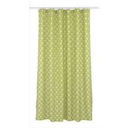 Manhattan Geometric Fabric Shower Curtain Liner Ring Set 14 Pieces Olive Green White