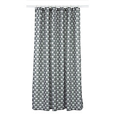 Manhattan Geometric 14 Piece Shower Curtain Set Charcoal Grey White