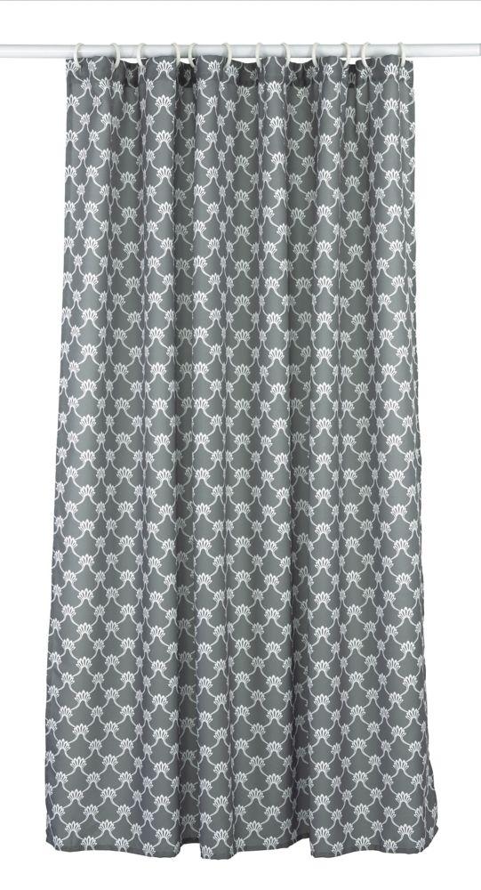 LJ Home Fashions Manhattan Geometric Fabric Shower Curtain Liner Ring Set (14-Piece) Dark Grey/White