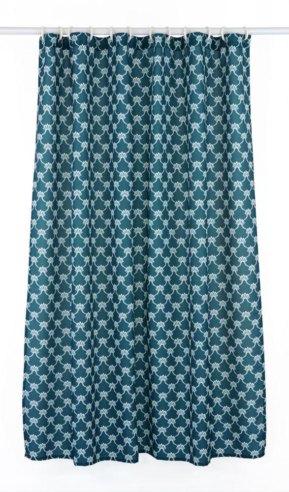 Manhattan 14-Piece Shower Curtain, Peacock Blue/White