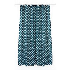 Manhattan Geometric Fabric Shower Curtain Liner Ring Set (14 pieces) Ocean Blue/White