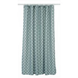 Manhattan Geometric Fabric Shower Curtain Liner Ring Set 14 Pieces Grey White