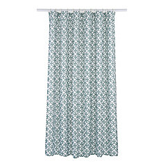 Madison Geometric Fabric Shower Curtain Liner Ring Set (14 pieces) Aqua Blue/White