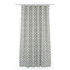 Madison Geometric Fabric Shower Curtain Liner Ring Set (14 pieces) Putty Grey/White
