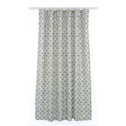 LJ Home Fashions Madison Geometric Fabric Shower Curtain Liner Ring Set (14-Piece) Putty Grey/White