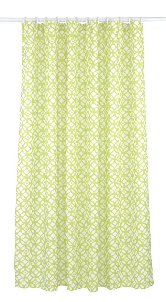 Madison Geometric 14-Piece Shower Curtain Set, Chartreuse Green/White