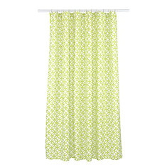 Madison Geometric Fabric Shower Curtain Liner Ring Set (14 pieces) Chartreuse Green/White